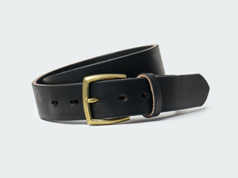 SOLID BELT AMERICAN STEER HYDE 38 / BLACK