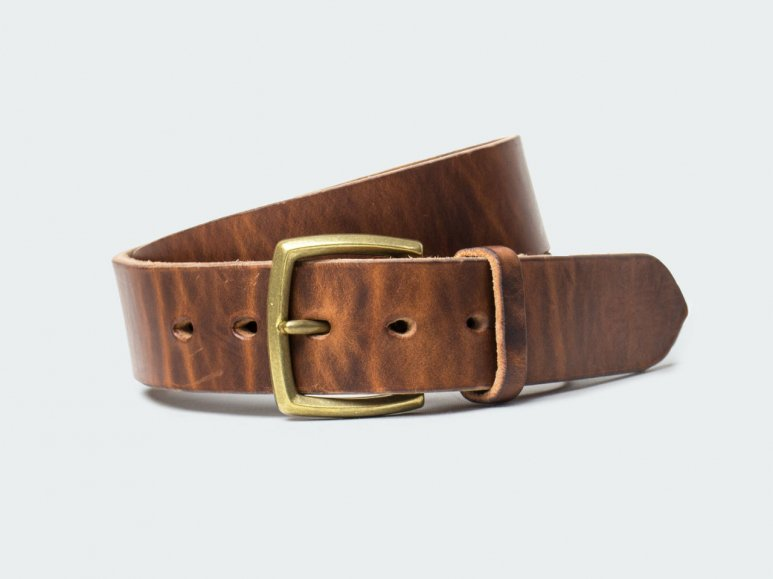 SOLID BELT AMERICAN STEER HYDE 42 / BROWN