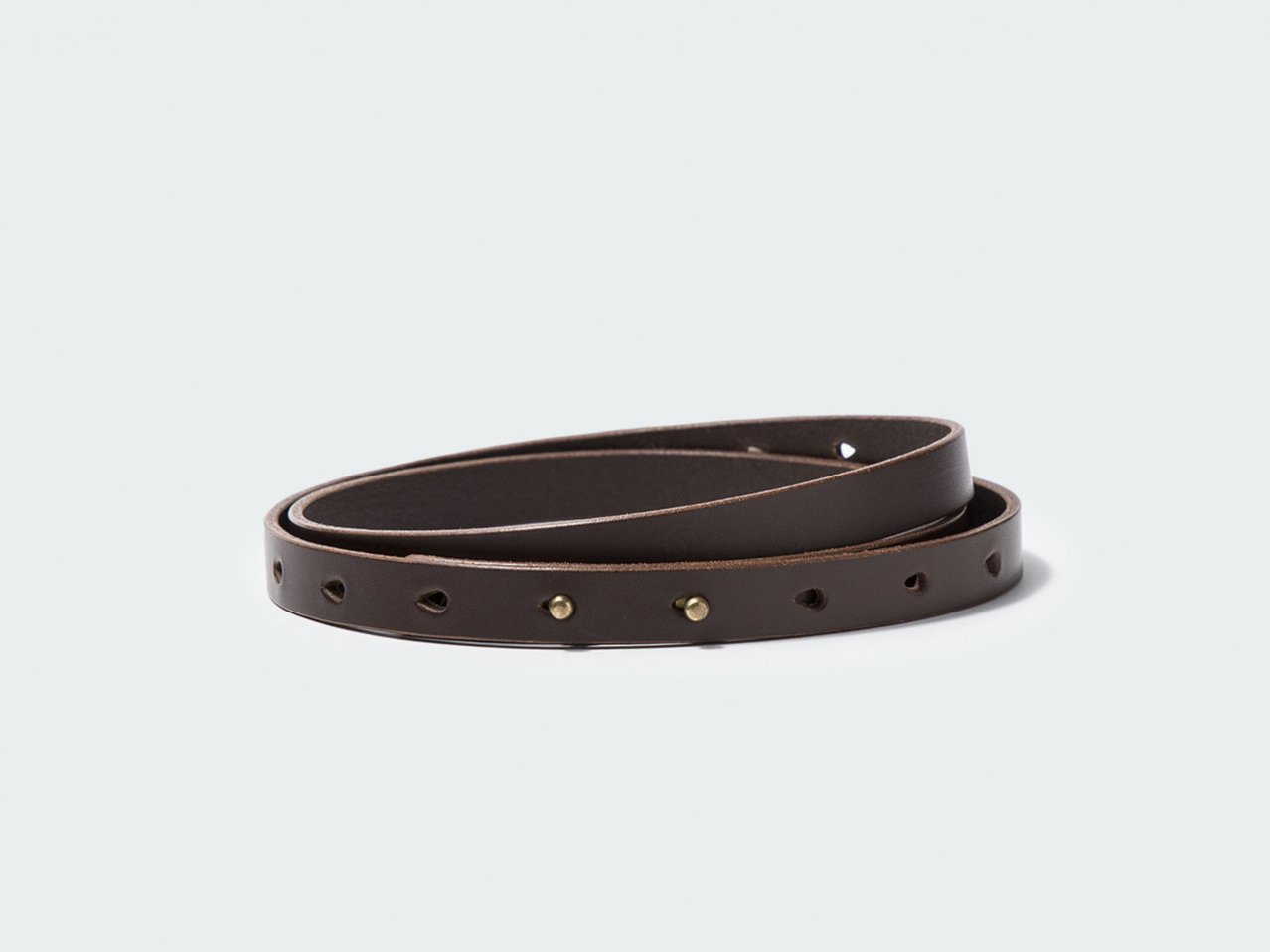 NARROW BUTTON BELT 15 / DARK BROWN
