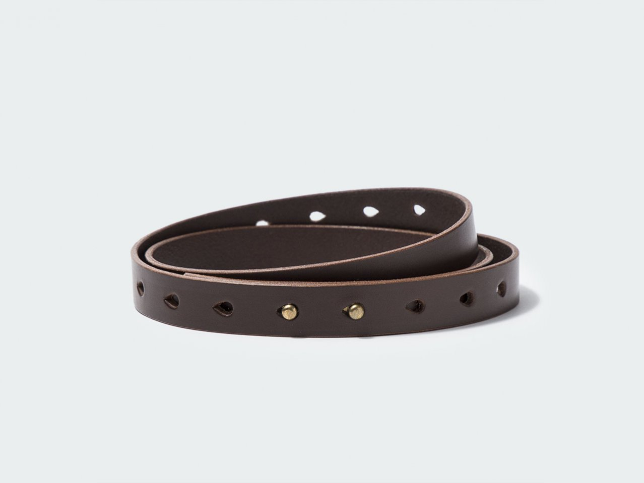 NARROW BUTTON BELT 22 / DARK BROWN