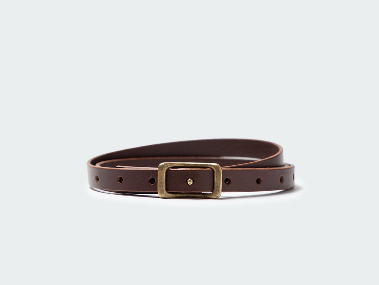 NARROW NAVEL BELT 15 / DARK BROWN