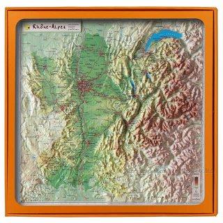 フランス3Dマップ(立体地図)[ローヌ・アルプ地方]ワインポストカードUV206PC付 UR103MP