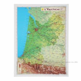 フランス3Dマップ[アキテーヌ地方(ボルドー地方)]ポストカードUV202PC付 UR106MP
