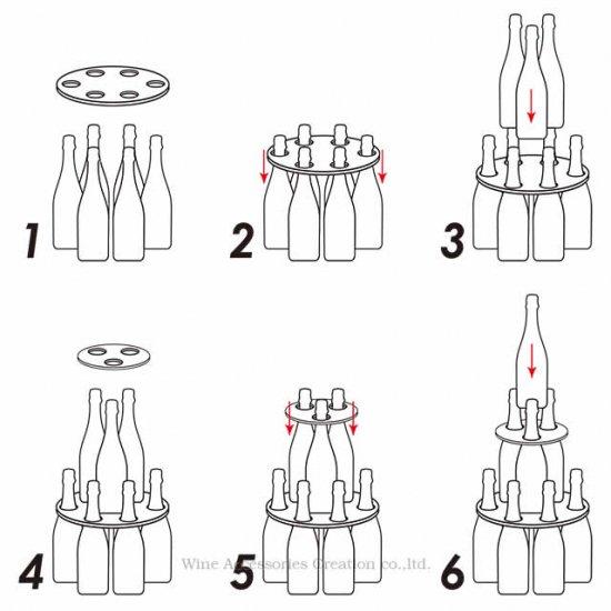 【受注生産】シャンパンタワープレート3段 蛍光ピンク(ボトルのタワー化プレート)RJ154RE