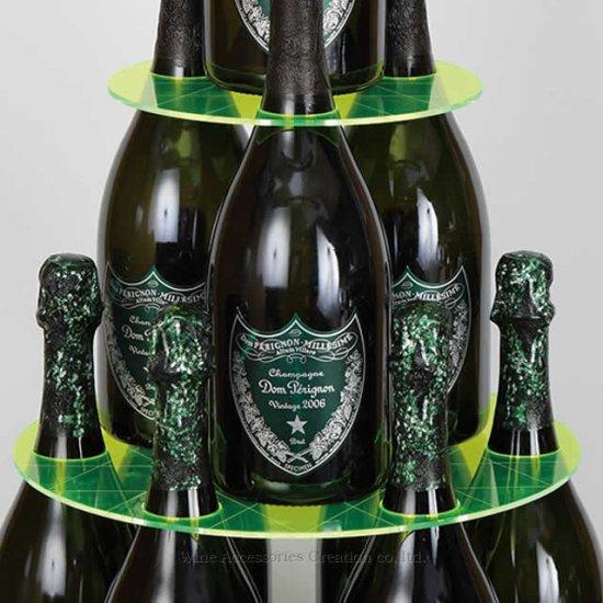 【受注生産】【代引き決済不可】シャンパンタワープレート3段 蛍光グリーン(ボトルのタワー化プレート)RJ154PC-G