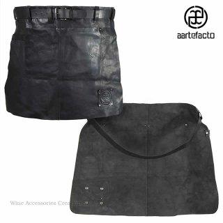 カッツァ アーティファクト 本革製タブリエ 腰巻ショート ブラック トーションHJ010WH付き HB001BK