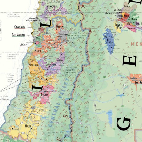 de long 南アメリカ ワインマップ wine map of south america