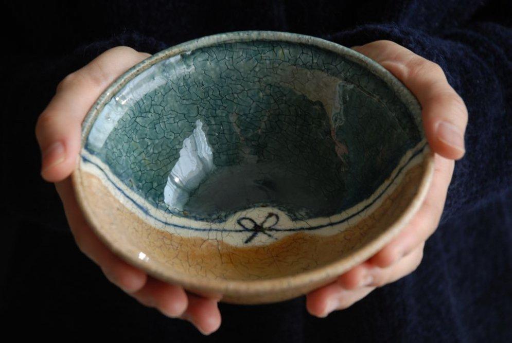杉本太郎 煮物鉢(掛け分けリボン)
