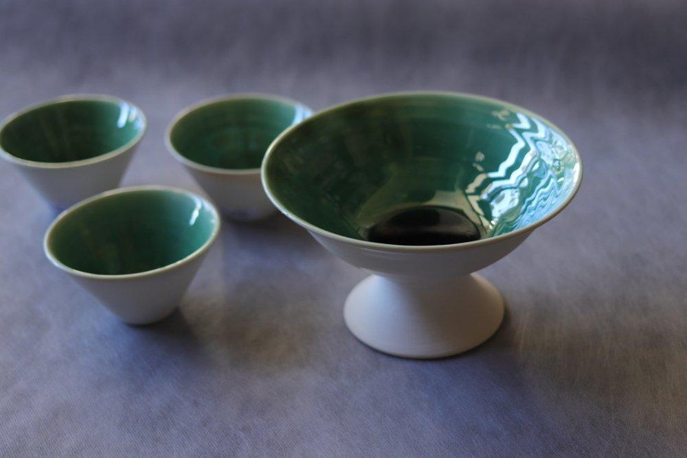 大胡琴美 緑釉 コンポート鉢