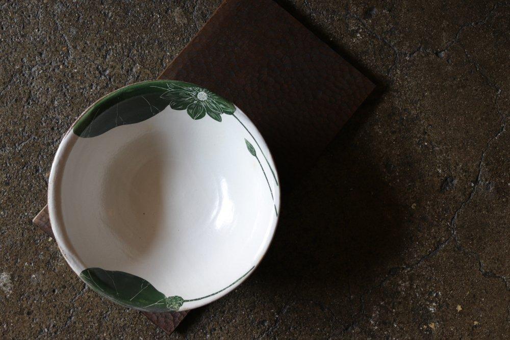 大谷桃子 緑ハス縁取り8寸鉢