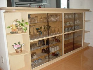対面式  キッチンカウンター  スリム収納