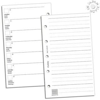 Cookday システム手帳 リフィル 1週間1ページ対向ノートページ/ミニ5サイズ