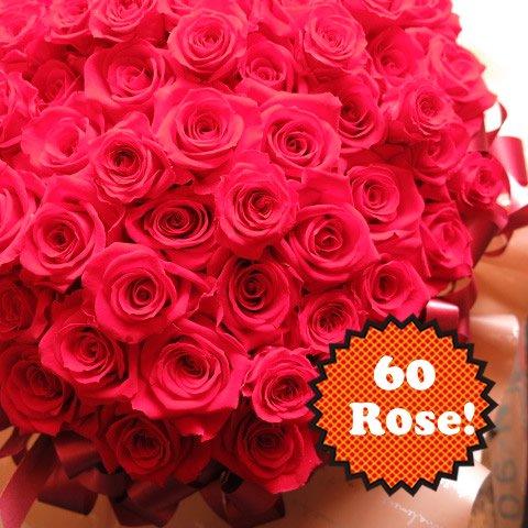 還暦祝い 花 プリザーブドフラワー 赤バラ 60輪使用 プリザーブドフラワー入り フラワーギフト 30cm×40cm ケー…