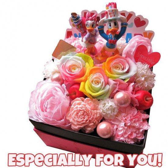 誕生日プレゼント ディズニー フラワーギフト レインボーローズ 花 ドナルド デージー B ボックス プリザーブドフラワー 【フレンチbox入…