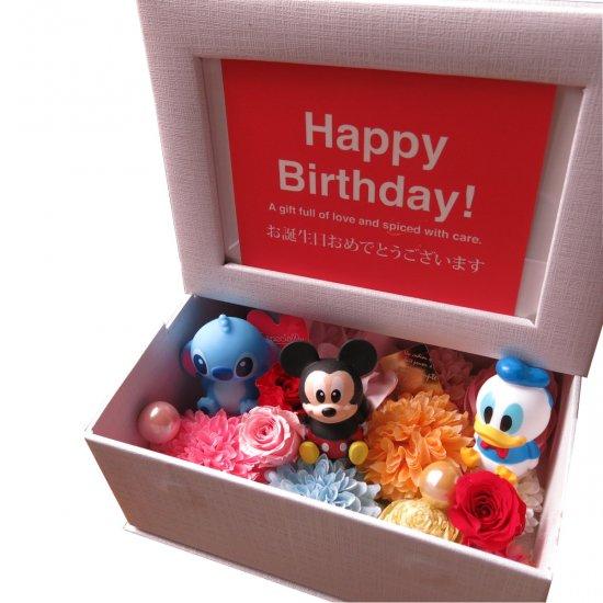 ディズニー 花 写真立て 箱を開けるとスマイルプレゼント プリザーブドフラワー入り フォトフレーム マスコット3個入…