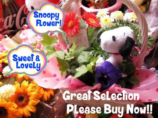 誕生日プレゼント スヌーピー入り 花 鉢植え 誕生日プレゼント 記念日の贈り物におすすめのフラワーギフト プレゼント先へのお届け 配送日指定も可能…