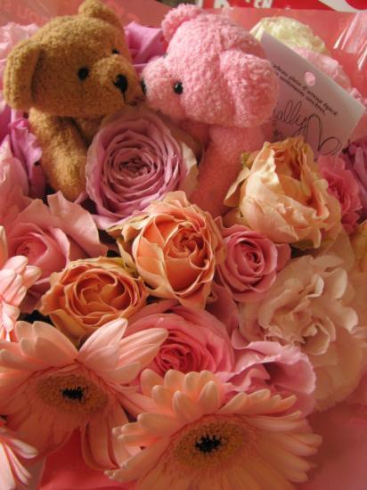 結婚祝い プレゼント 花 ベアーのフラワーアレンジメント【kiss Bear】