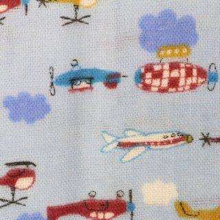 ダブルガーゼ  飛行機  1mライトブルー  コットンこばやし