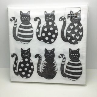 北欧「anneko」デザイン●ネコのペーパーランチマット●6匹の猫●10枚入り●欧州製