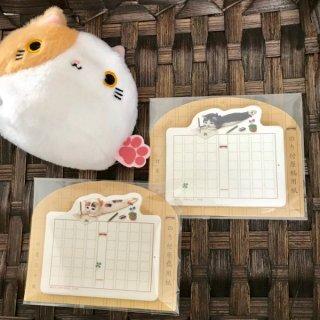 フセン原稿用紙●ミケネコ 白黒ネコ