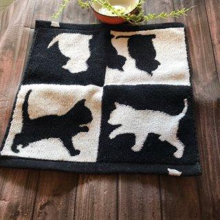 今治タオル♪タオルハンカチ♪かわいいネコのシルエット柄♪黒猫・白猫