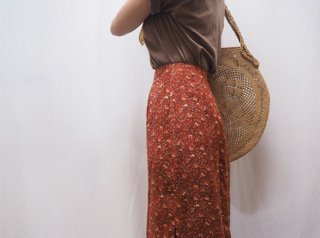 80-90s Terracotta Floral Tight Maxi Skirt