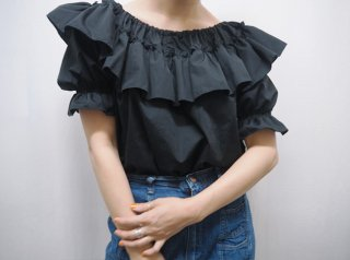 Black Ruffle Cotton Blouse