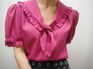 70-80s Deep Pink Sailor Tie Blouse