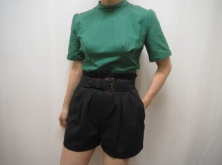 40s- Green High Neck Cotton Blouse