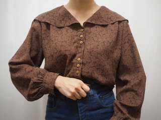80-90s Brown Floral Large Collar Blouse