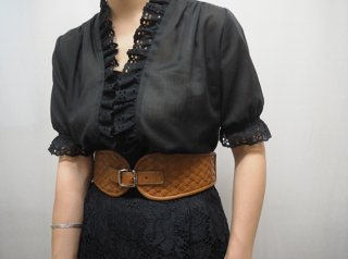 70-80s Black Lace Trim Cotton Blouse