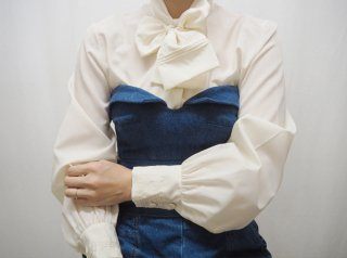 70-80s Ivory Bow Tie Blouse