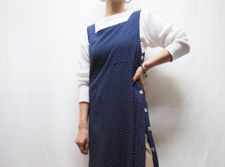 80s- Navy Polka Dot Side Buttons Rayon Dress