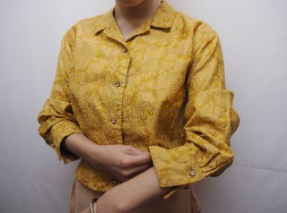50s Yellow Floral Bijou Buttons Cropped Blouse