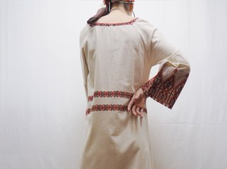 70s- Greek Ivory Red Embroidery Cotton Tunic Dress