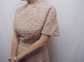 50s Pink Beige Ribbon Fabric 2pc Dress