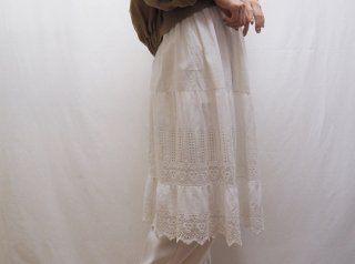 1900-1910s French White Eyelet Cotton Slip Dress