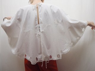 1800-1910s White Battenberg Lace Cotton Christening Cape