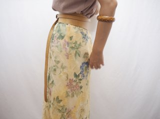Pale Yellow Floral Crinkle Chiffon Maxi Skirt