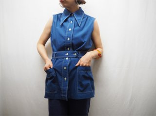70s Navy Sleeveless Belted Top