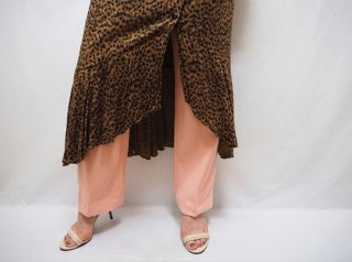 80s- Leopard Lapel Design Rayon Long Dress