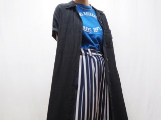 90s Black Linen Maxi Shirt Dress