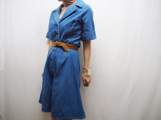 70s- Denim Open Collar Flare Romper