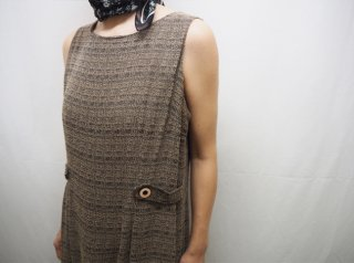 90s Brown Belted Design Sleeveless Dress
