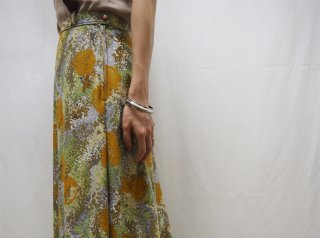 70s Yellow Green Abstract Pattern Jersey Maxi Skirt