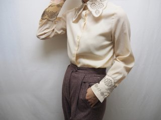 60s- Ivory Embroidered French Cuffs Blouse