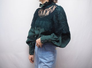 70s Dark Green Lace Victorian Style Cotton Blouse