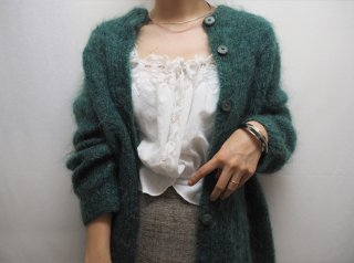 70s- Green Mohair Knit Cardigan