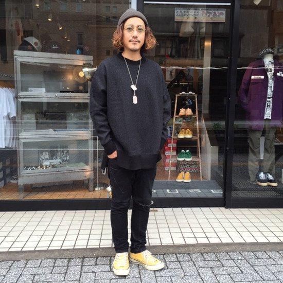 Name. Tシャツ /ネーム MILLED WOOL FOOTBLL T SHIRT 【BLACK】