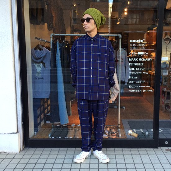 <img class='new_mark_img1' src='https://img.shop-pro.jp/img/new/icons3.gif' style='border:none;display:inline;margin:0px;padding:0px;width:auto;' />Name.  ネーム / シャツ  PLAID RAYON OVERSIZED SHIRT 【NAVY】